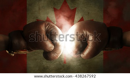 Boxing Gloves with the Flag of Canada  - stock photo