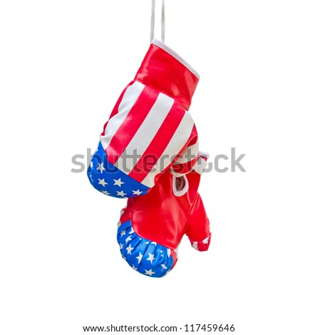 Boxing gloves with USA flag isolated on white background - stock photo