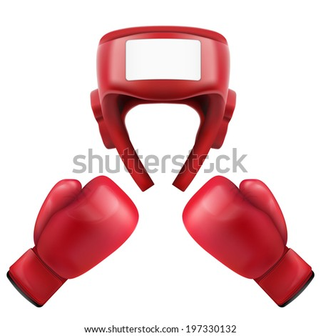 Boxing helmet and gloves. Sport goods, defense and equipment.  Isolated on white background. Bitmap copy. - stock photo