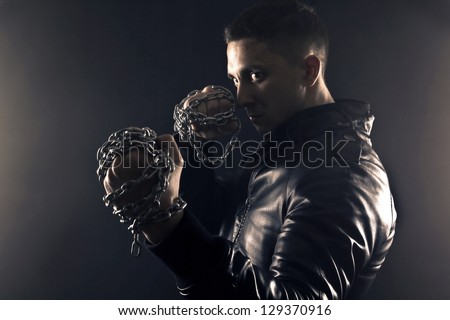boxing man in smoke
