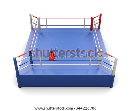Boxing ring and gloves on the ropes isolated on white background. 3d rendering. - stock photo