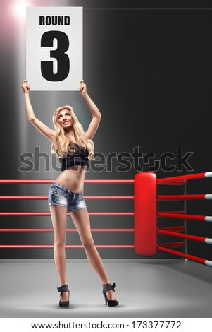 Old Picture Of Girl In Boxing Ring Holding  Card