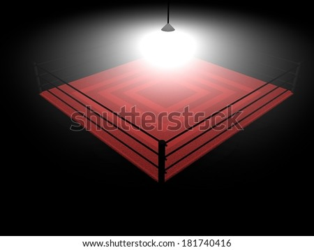 Boxing ring illumnated in the darkness, 3d render - stock photo