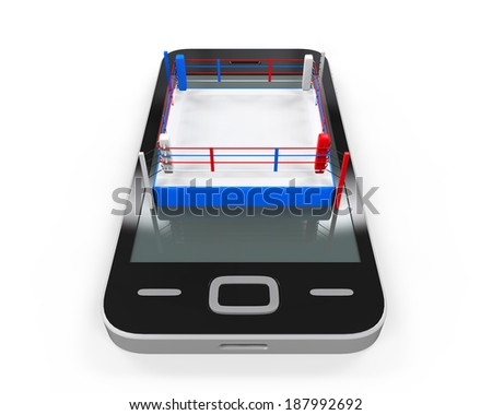 Boxing Ring in Mobile Phone - stock photo