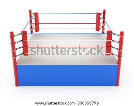 Boxing ring isolated on white background - stock photo