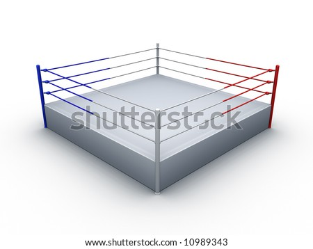 boxing ring on white background - stock photo