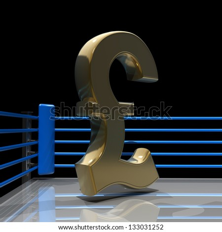 Boxing ring with British pound symbol isolated on black background - 3d render high resolution - stock photo
