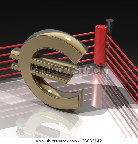 Boxing ring with Euro symbol isolated on black background - 3d render high resolution - stock photo
