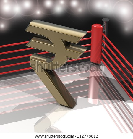 Boxing ring with Indian rupee symbol 3d render high resolution - stock photo