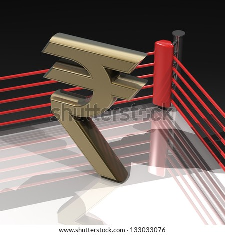 Boxing ring with Indian rupee symbol isolated on black background - 3d render high resolution - stock photo