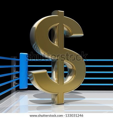 Boxing ring with US dollar symbol isolated on black background - 3d render high resolution - stock photo