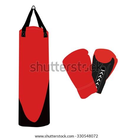 Boxing set, boxing gloves, punching bag, boxing bag - stock photo