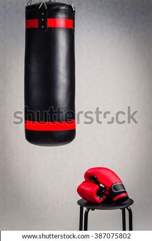 Boxing set on grey background - stock photo