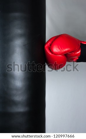 Boxing training and Punching bag - stock photo