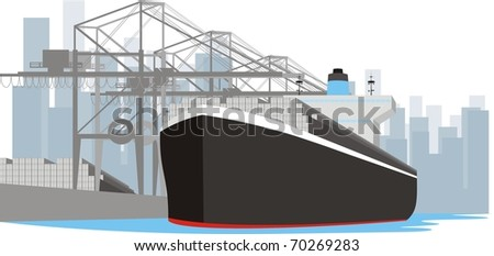 Boxship at berth - Container vessel at port loading and discharging cargo