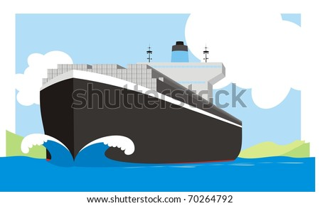 Boxship steaming at full spead - A container vessel with a huge bow wave colorful raster illustration - stock photo