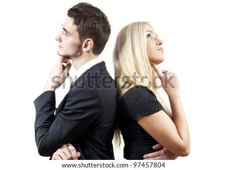 boy and a girl colleague - stock photo