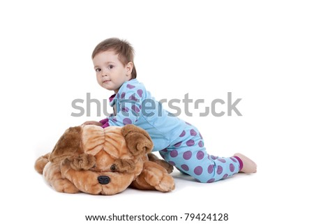 boy and a toy dog ??on a white background