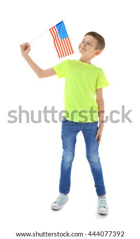 Boy and American flag on white background - stock photo
