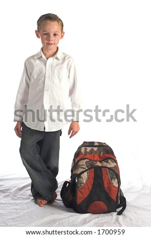 Boy and backpack