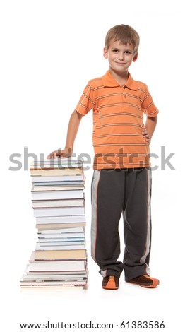 Boy and books isolated on a white background - stock photo