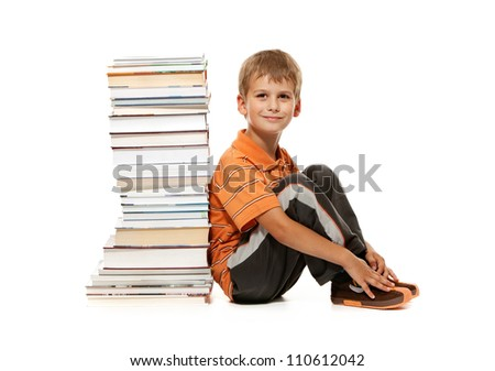 Boy and books isolated on a white background. Back to school