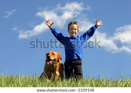 Boy and dog in clouds - stock photo
