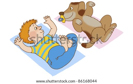 Boy and dog lying on his back, doing gymnastics, depicting the new-born babies - stock photo