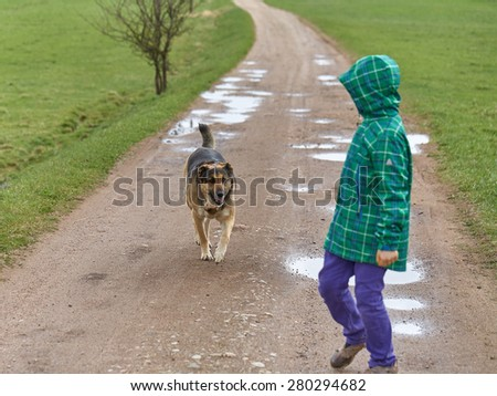 Boy and dog on the rural road in rainy day - stock photo