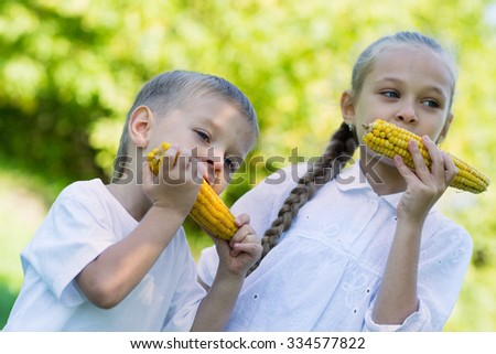 Boy and girl eating corn outdoors. Sister and brother - stock photo