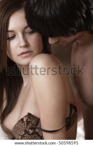 Boy and girl in bra - stock photo