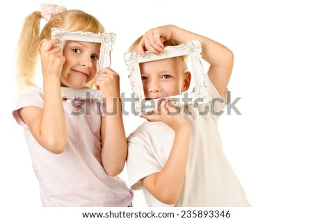 boy and girl isolated on a white background