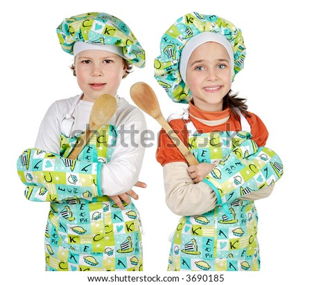 boy and girl  learning to cook a over white background - stock photo