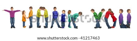 boy and girl making word THANK YOU, collage - stock photo