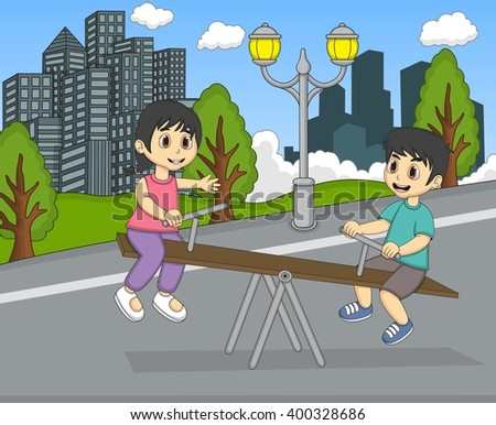 Boy and girl playing teeter at the yard cartoon image illustration - stock photo