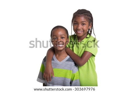 Boy and girl siblings isolated on white