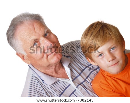 boy and grandfather isolated on white - stock photo