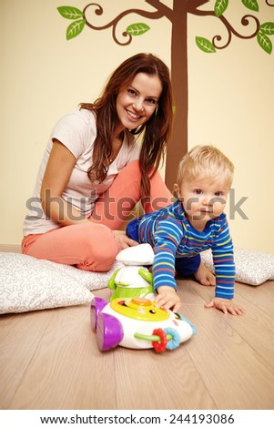 Boy and mother - stock photo