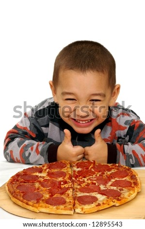 boy and pizza - stock photo