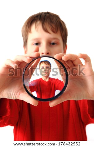 boy and special glass (original portrait) - stock photo