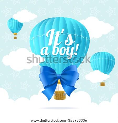 Boy Announcement Card. Flat Design. illustration - stock photo