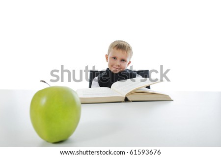 boy at the desk reading a book. Isolated on white background - stock photo