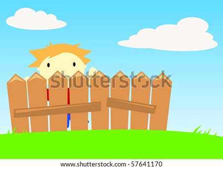 Boy behind fence - stock photo