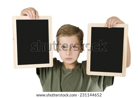 Boy between two black boards middle - stock photo