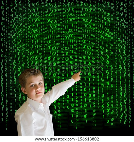 Boy, businessman, student or teacher with binary on blackboard background - stock photo