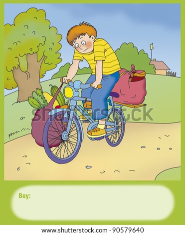 boy carries heavy bags on a bike - stock photo