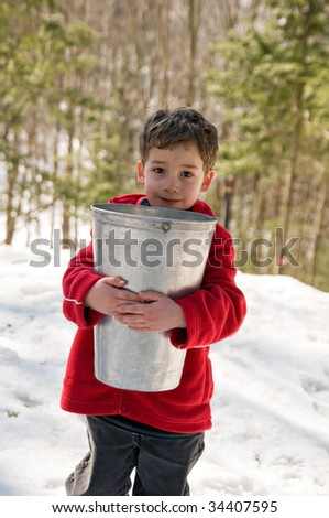 boy carrying a sap bucket to make maple syrup