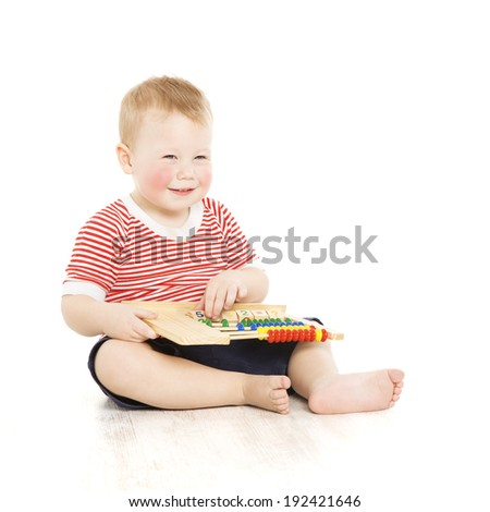Boy child happy with abacus, smart little kid study lesson, education development concept - stock photo