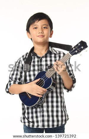 Boy Child With Electric Guitar Music Playing on White Background