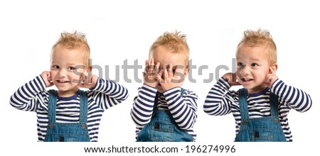 Boy covering his eyes and his ears over white background  - stock photo
